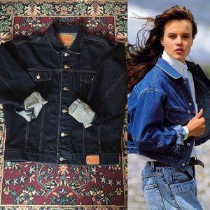 80s Guess Dark Wash Oversized Denim Jacket